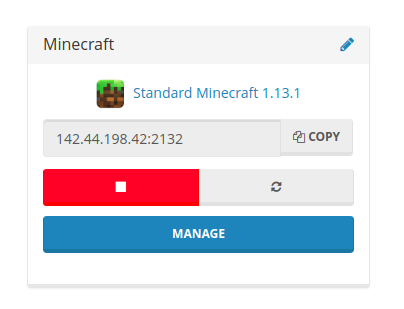 Copy your Minecraft server IP